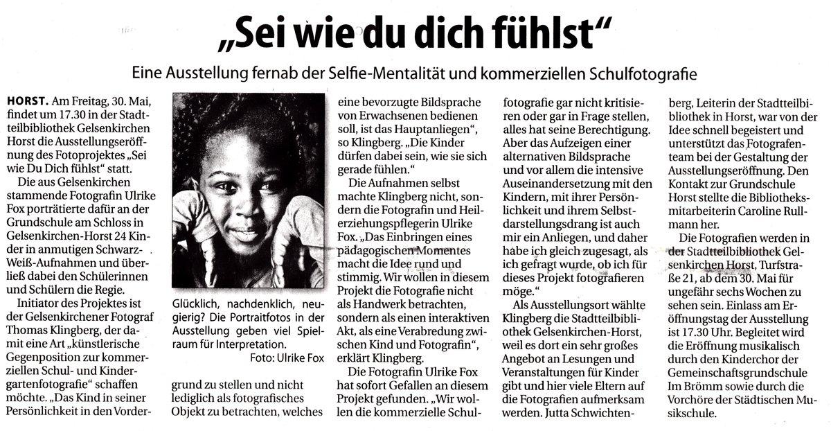 """Presseartikel zur Fotoausstellung """"Sei wie die dich fühlst"""""""