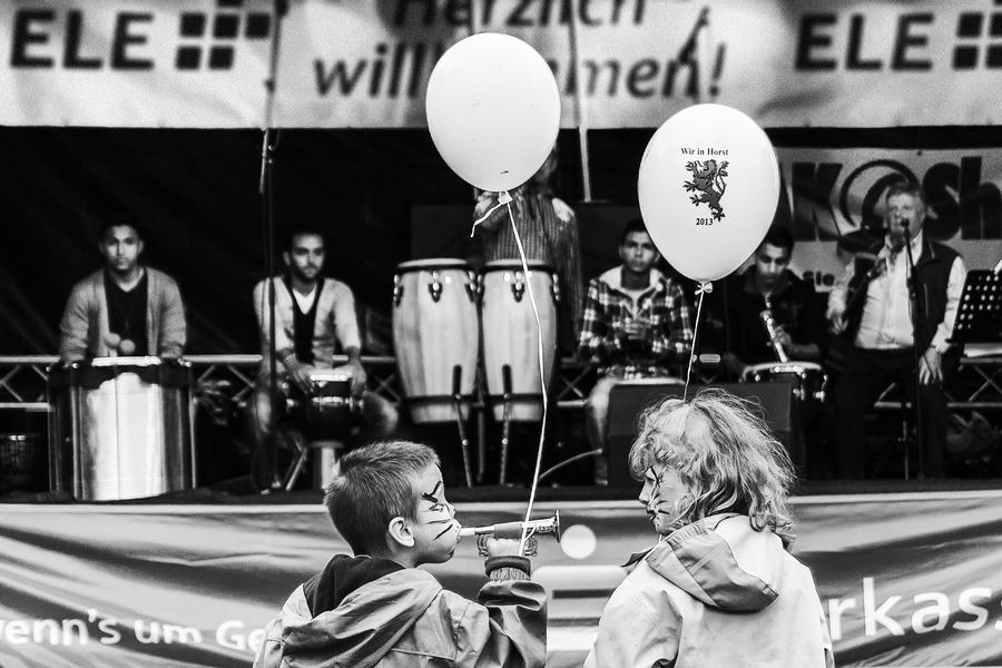 Children at a street party in Gelsenkirchen