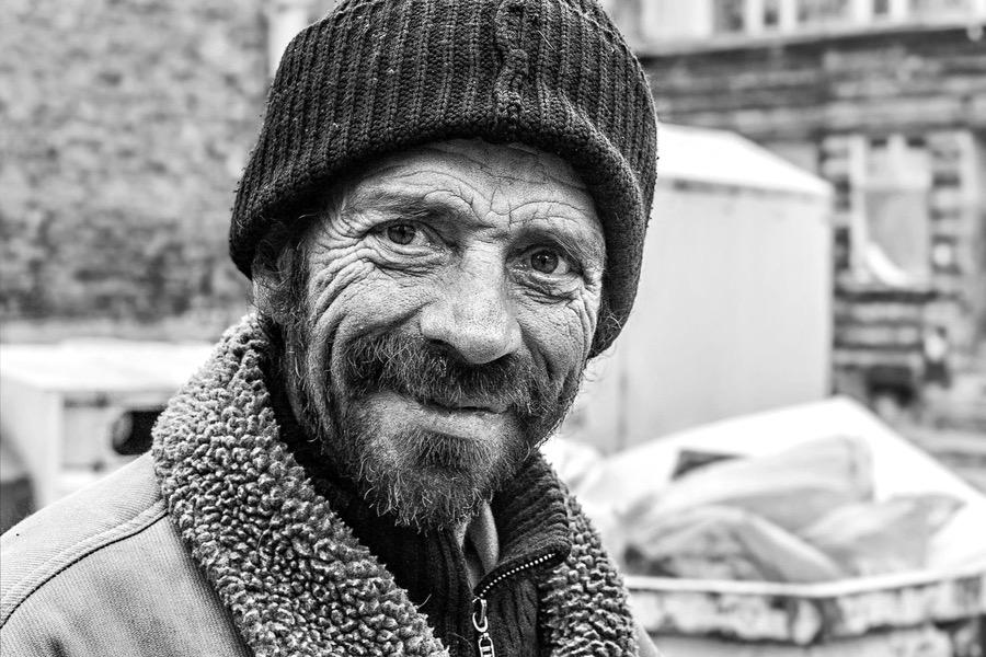 Homeless man in Gdansk