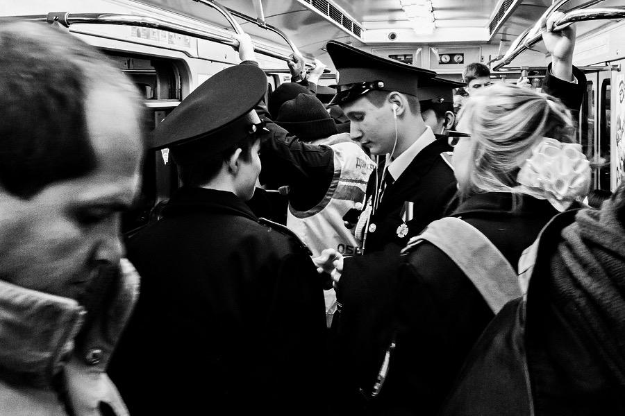 Kadetten in der Metro in Moskau Russland