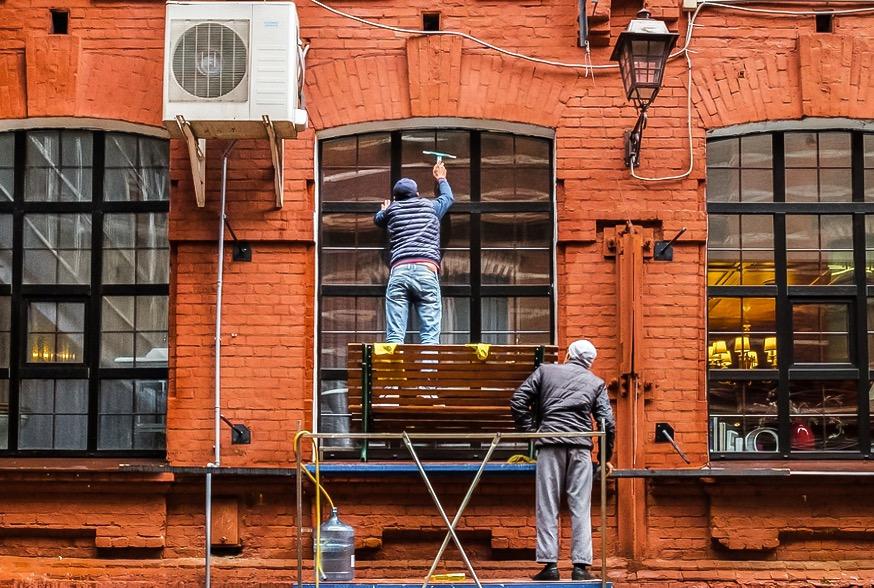 Fensterputzer in Moskau
