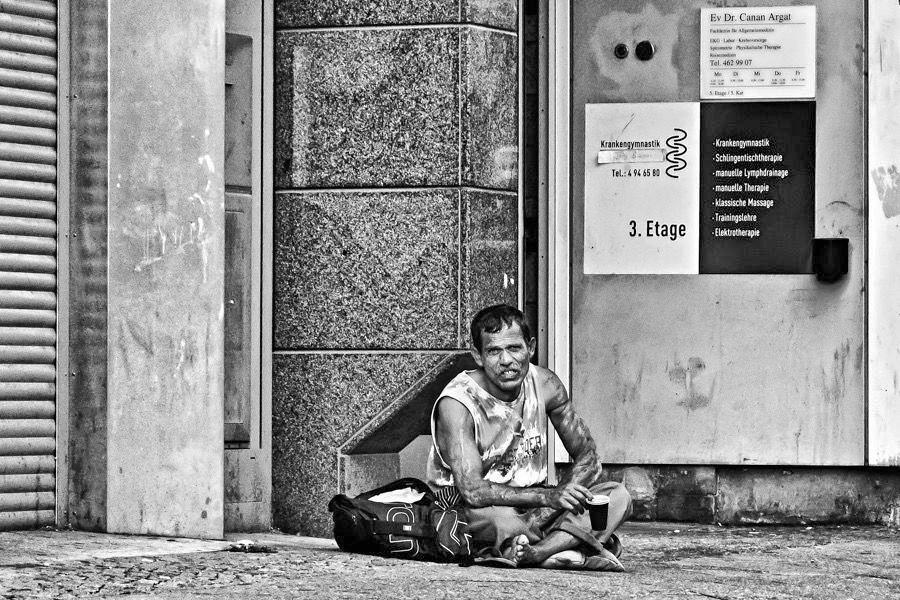 Wohnungsloser Mann in Berlin